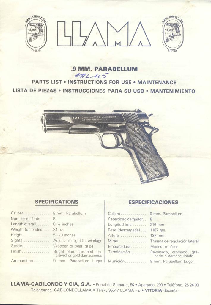 Copy* Llama Omni 9mm Parabellum Semi Auto Pistol Owner/'s Manual /& Parts List