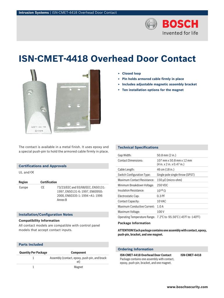 ISN‑CMET‑4418 Overhead Door Contact Intrusion Systems | manualzz com