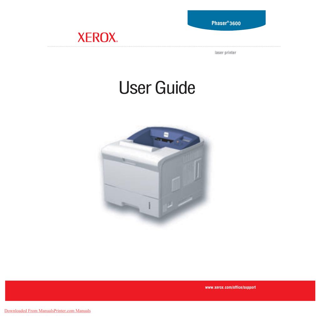 Xerox Phaser 3600N Printers User Guide Manual Pdf
