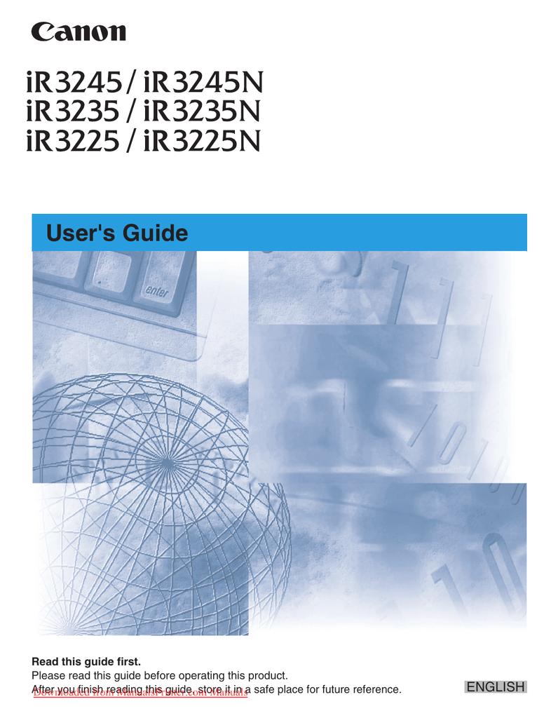 Canon iR3225N User Guide | manualzz com