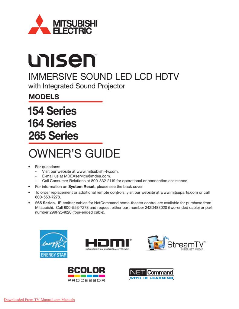 Mitsubishi Electric LT-46164 LCD TV User Guide   manualzz.com on