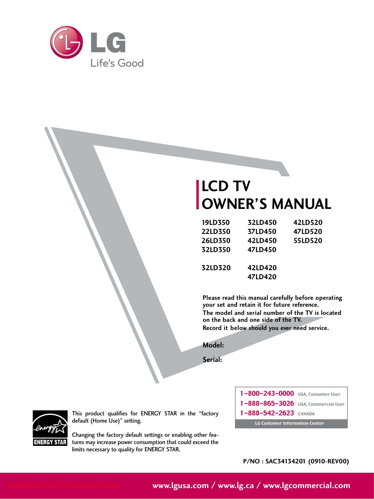 lg 32ld350 lcd tv user guide manualzz com rh manualzz com lg 32ld350 manuel lg 32ld350 service manual