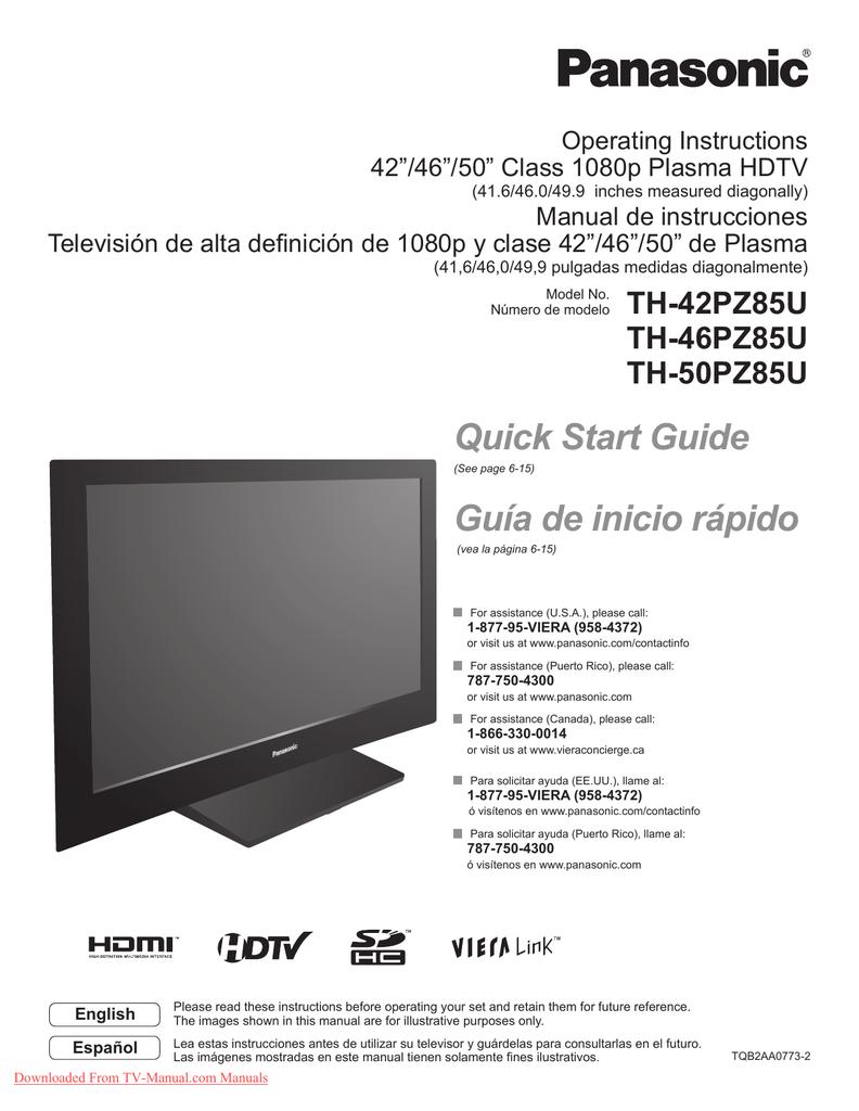Panasonic Th 42pv80 Plasma Tv User Guide Manualzz