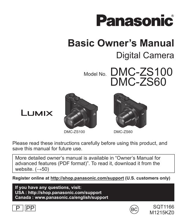 Panasonic LUMIX DMC-ZS60 Camera User Guide | manualzz com