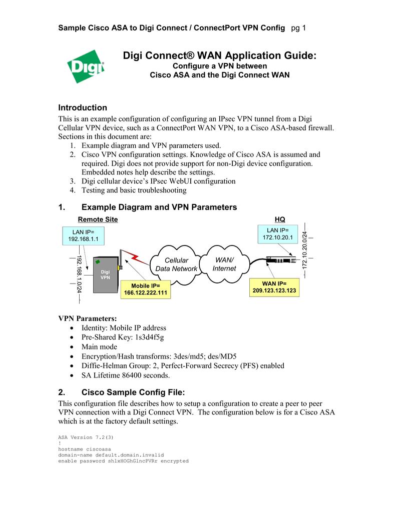 Application Guide: Configure a VPN tunnel between Cisco ASA