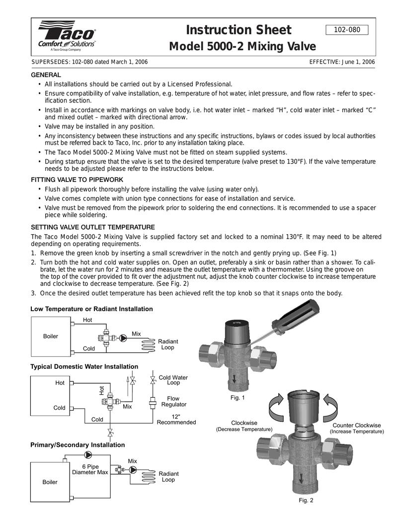 Model 5000 2 Mixing Valve Manualzz