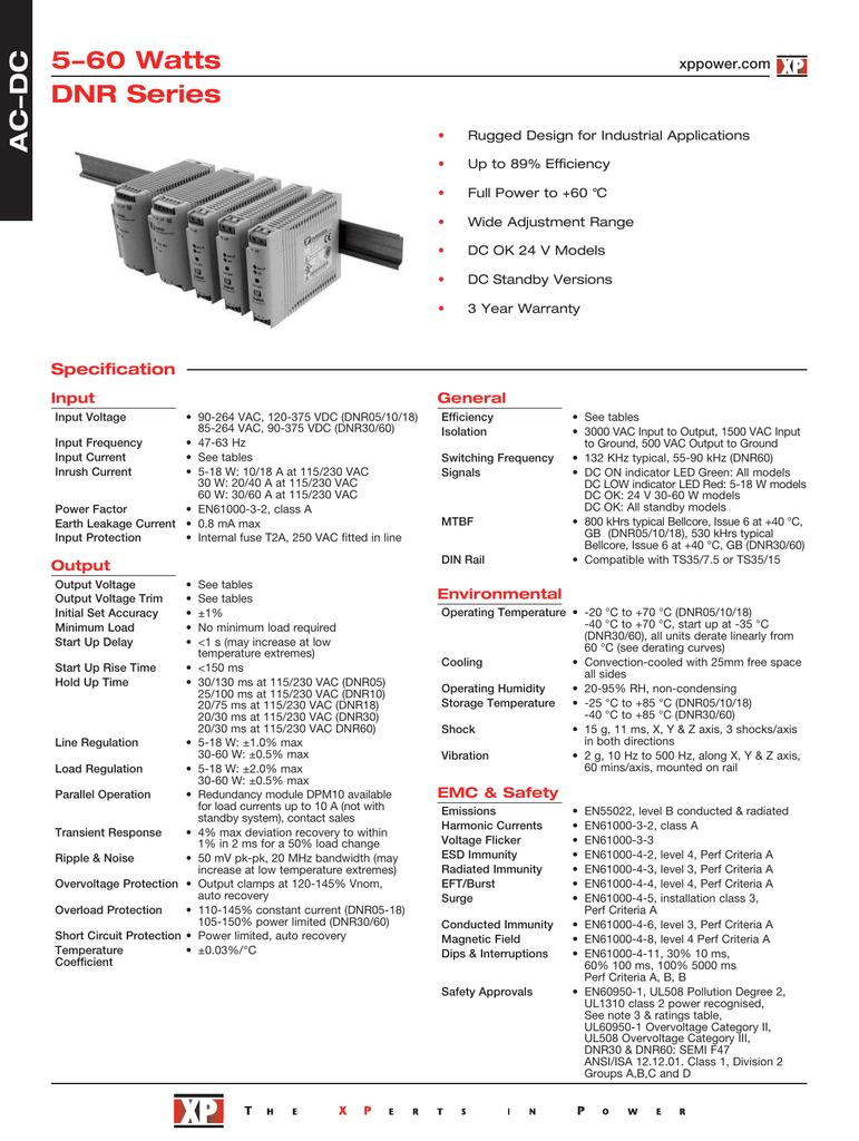 5 W 5 V DIN rail Power Supply PSU XP Power DNR05US05