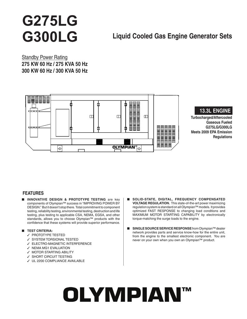 G300lg Spec Sheet Olympian Genset Wiring Diagram
