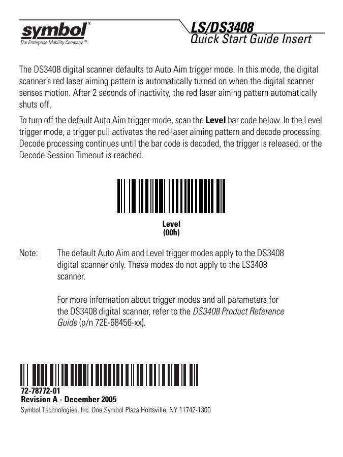 Symbol Scanner Quick Start Guide User Manual Guide