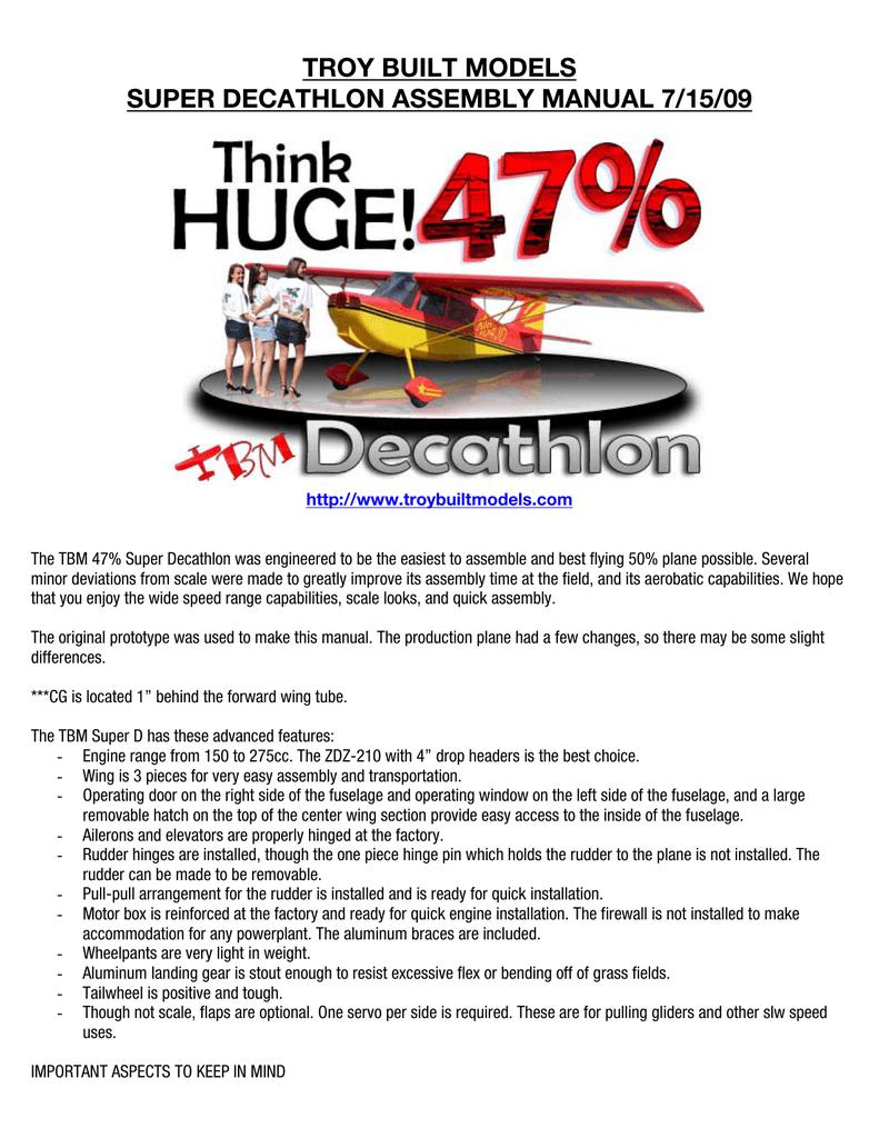 TBM Pilot-RC 47% Super Decathlon Manual | manualzz com