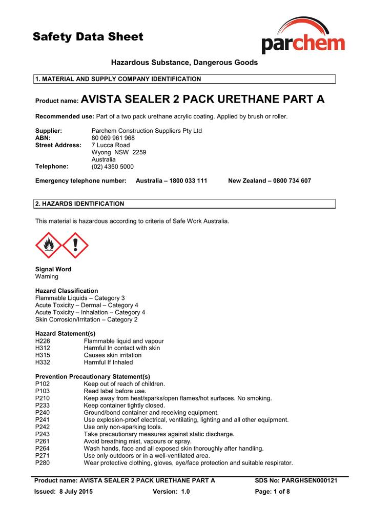 Avista Concrete Sealer 2 Pack Urethane Part A SDS | manualzz com