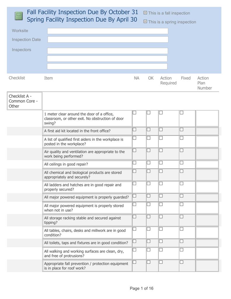 RETSD Facility Safety Inspection Checklist | manualzz com