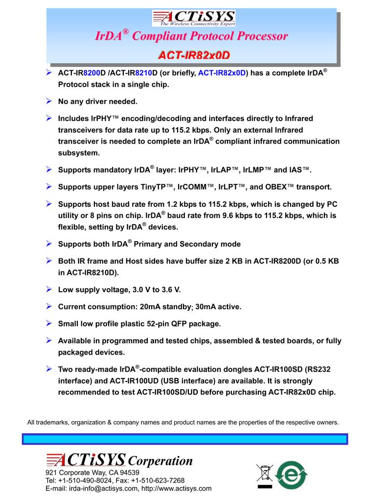 IR82x0D: IrDA Compliant Protocol Processor | manualzz com