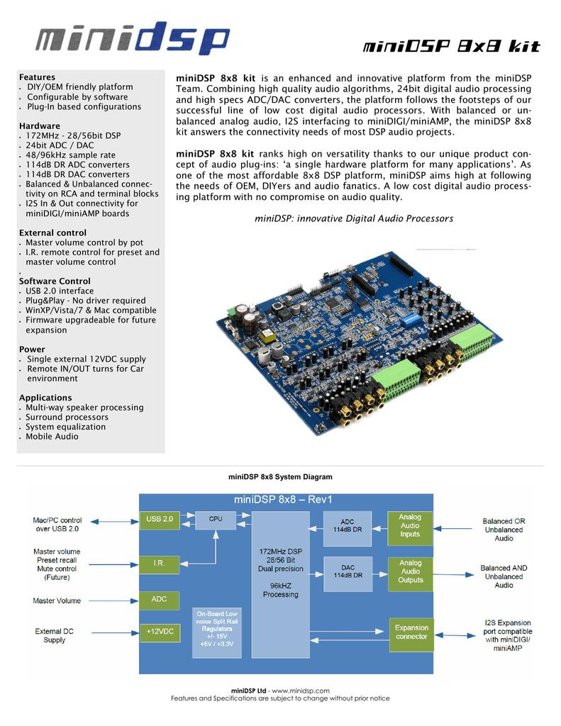 miniDSP 8x8 kit | manualzz com
