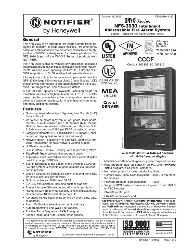 Notifier NFS-3030 DN_6880 | manualzz com