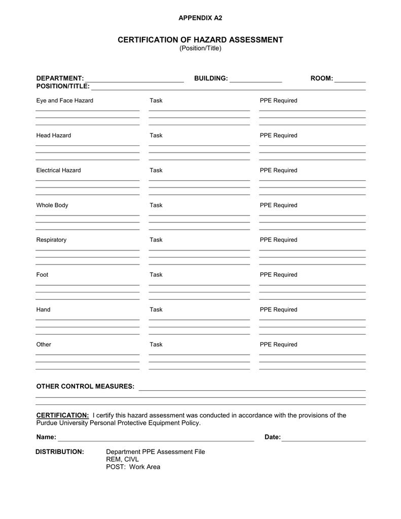 Certification of Hazard Assessment Form | manualzz com