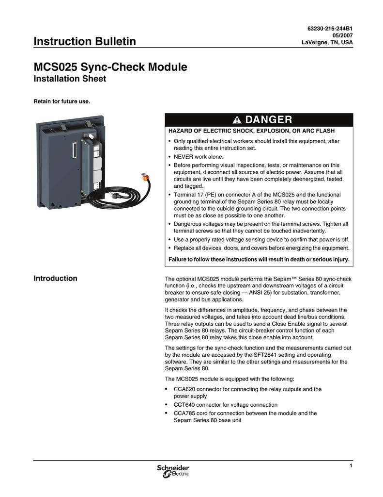 63230 216 244 Mcs025 Installsheet Relay Used In Circuit Breaker