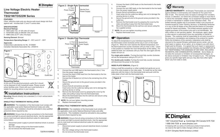 Ts Td Line Voltage Bimetal Thermostat