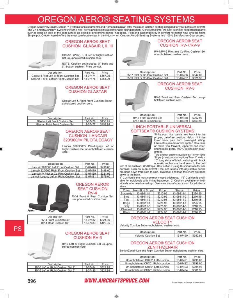 Page 896: Oregon Aero  Seating Systems , Oregon Aero  Seat
