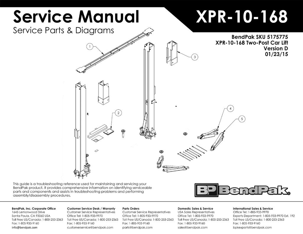 BendPak-5175775-XPR-10-168-Two-Post-Car-Lift-Exploded-View-Parts-List-Ver-D-01-23  | manualzz.com
