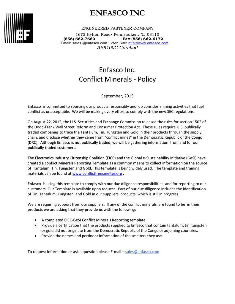 ENFASCO INC Enfasco Inc. Conflict Minerals - Policy | manualzz.com