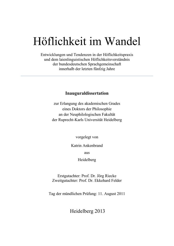 HÖFLICHKEIT IM WANDEL | manualzz.com