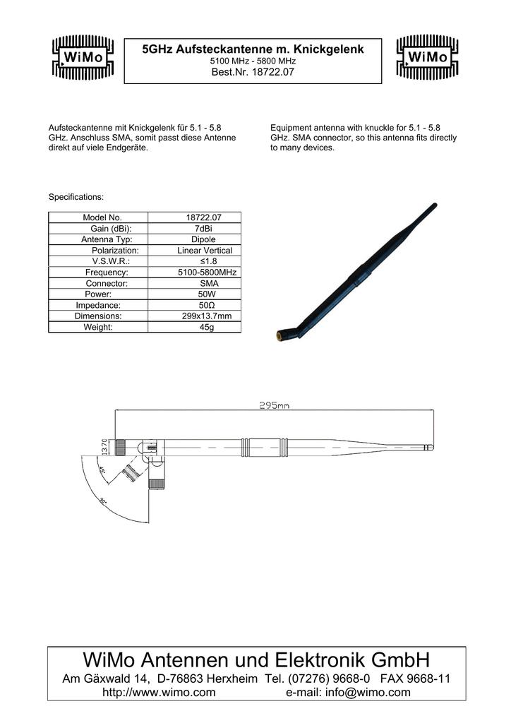 Datasheet 18722 7 Antenna (PDF, ge/en, 750KB) | manualzz com
