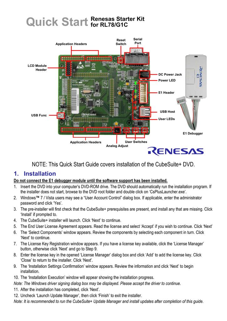CubeSuite+] Renesas Starter Kit for RL78/G1C Quick Start
