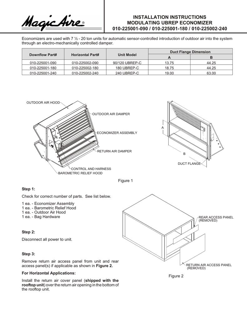 BRD30-80 Upflow/Horizontal Economizer Installation Instructions