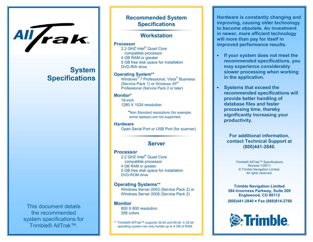 Trimble AllTrak System Requirements | manualzz com