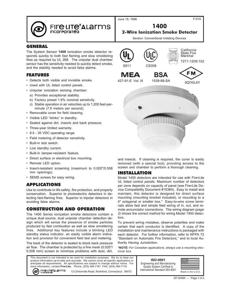 System Sensor 1400 Ionization Type Smoke Detectors