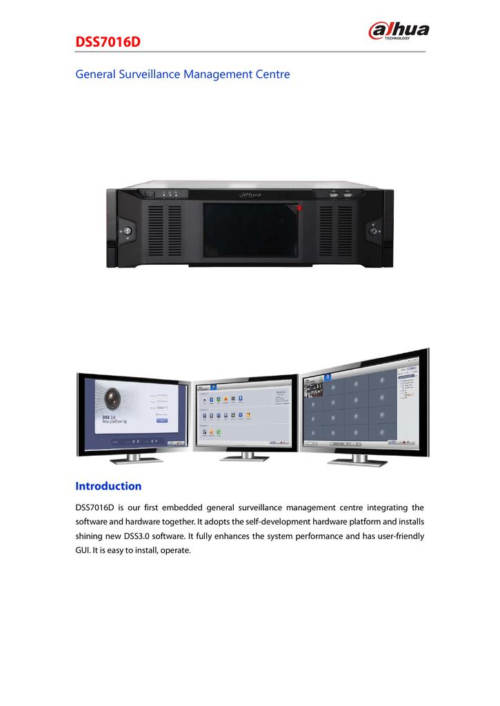 Dahua Technology DSS7016D CCTV system software datasheet