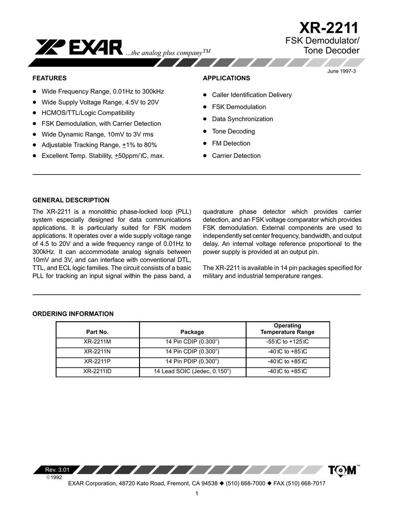 XR-2211 FSK Demodulator/ Tone Decoder    the analog plus
