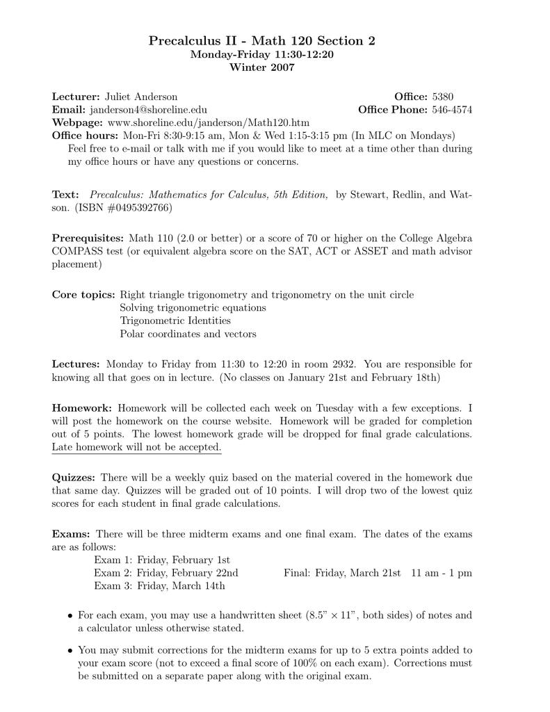 Precalculus Trigonometry Final Exam