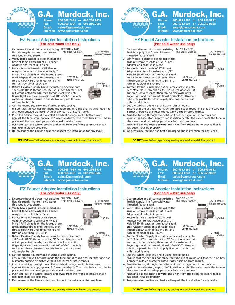 H0930425 EZ Faucet Adapter Installation Instructions