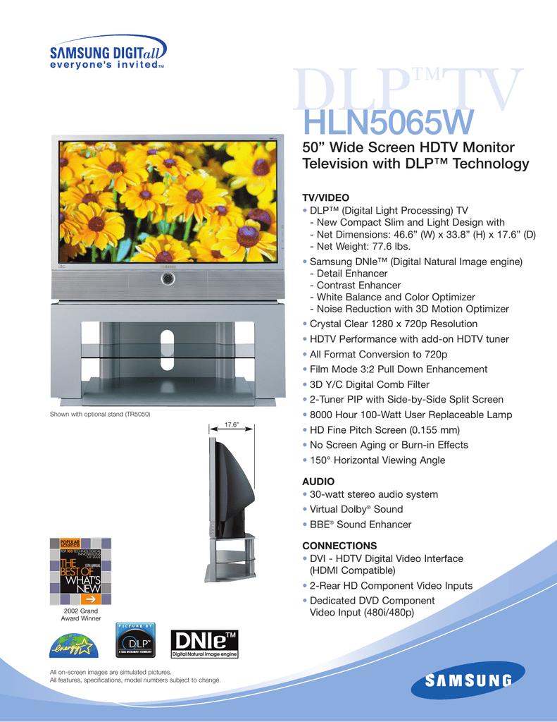 samsung hln5065w product sheet manualzz com rh manualzz com