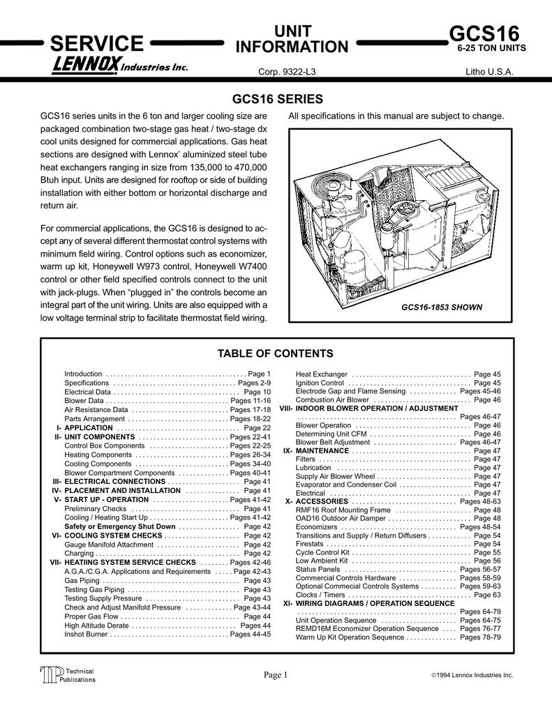 Servicemanualgcs169533003 Lennox Control Board Wiring Diagram