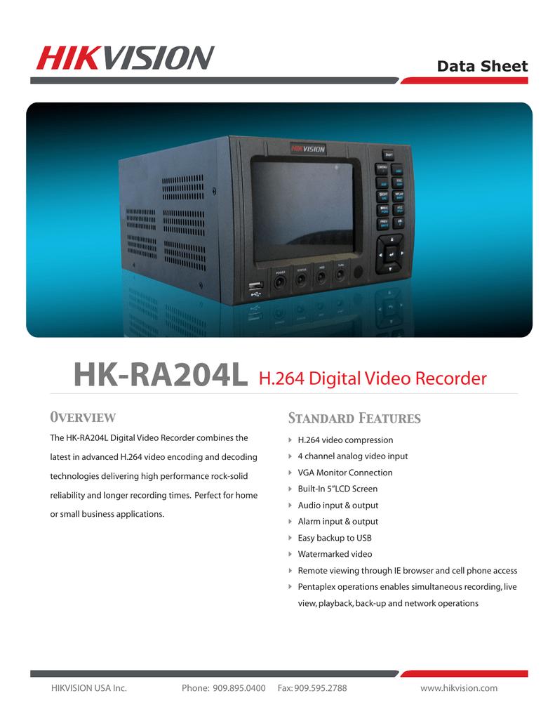 HIK Vision HK-RA204L Series 2 Digital Video Recorder With 5