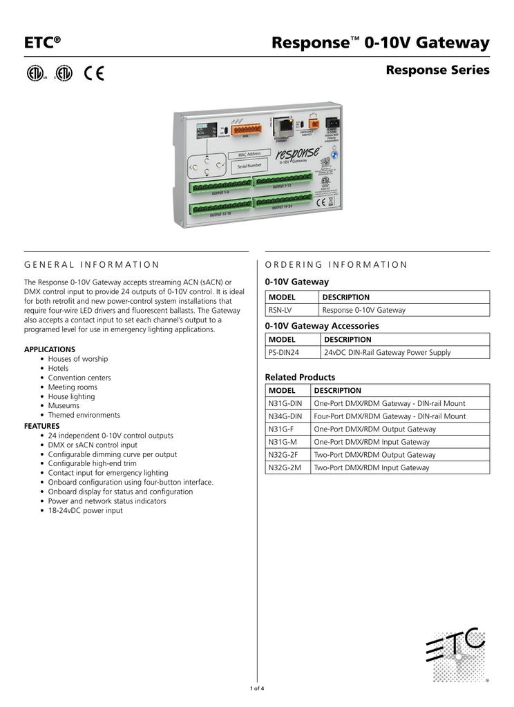 Response 0-10V Gateway Datasheet | manualzz com