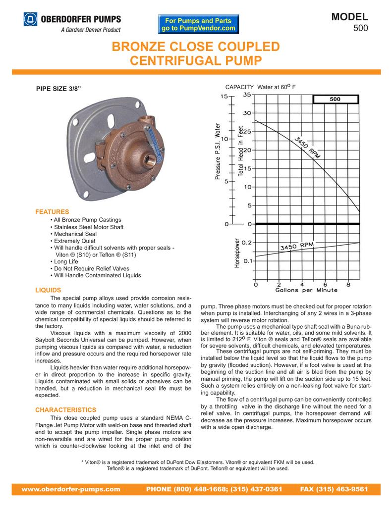 Bronze Close Coupled Centrifugal Pump Model 500 Gardner Denver Motor Wiring Diagrams