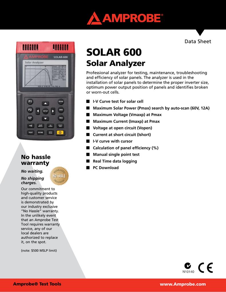 SOLAR 600 Solar Analyzer Data Sheet | manualzz com