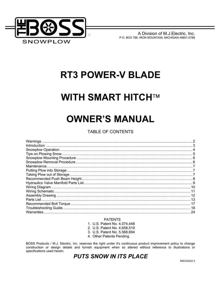 RT3 Power V Blade w/ SmartHitch Owner's Manual   ManualzzManualzz