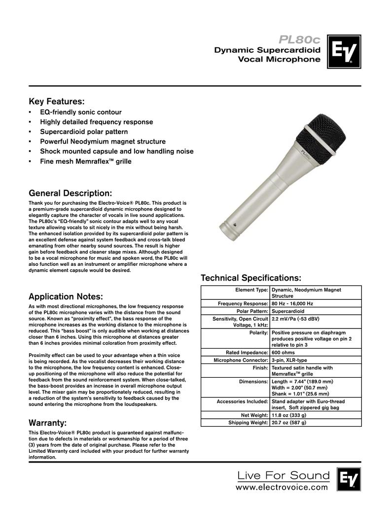 Electro-Voice PL80c Datasheet | manualzz com