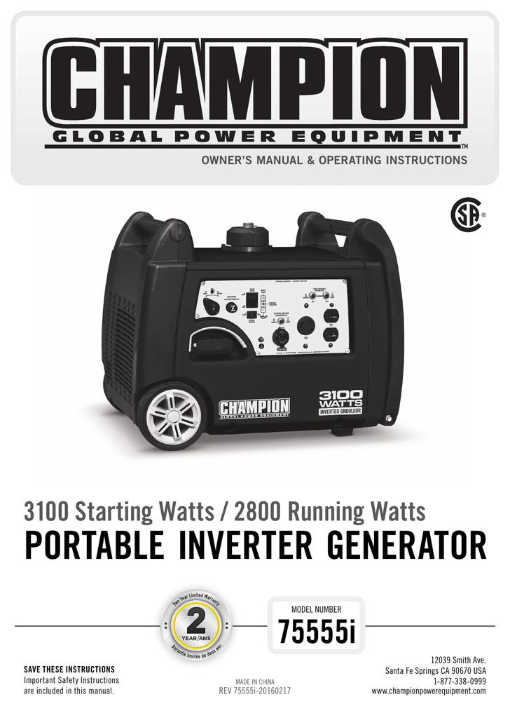 Portable Inverter Generator 75555i 3100 Starting Watts 2800