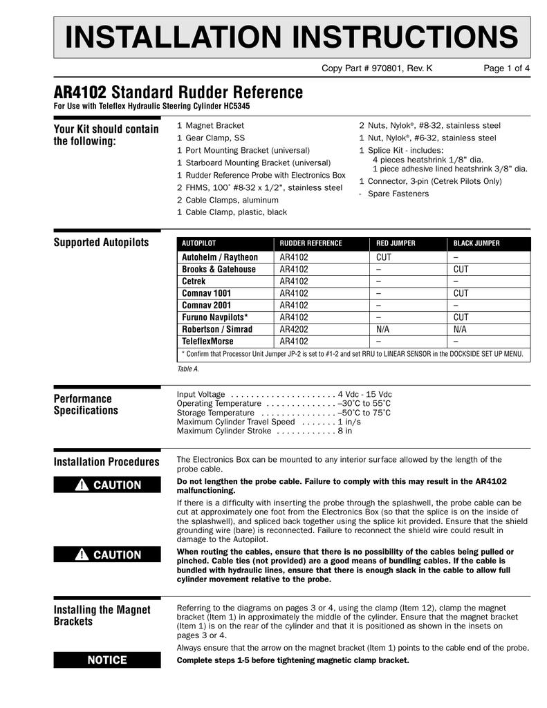 Navpilot Linear Rudder Reference Unit Installation
