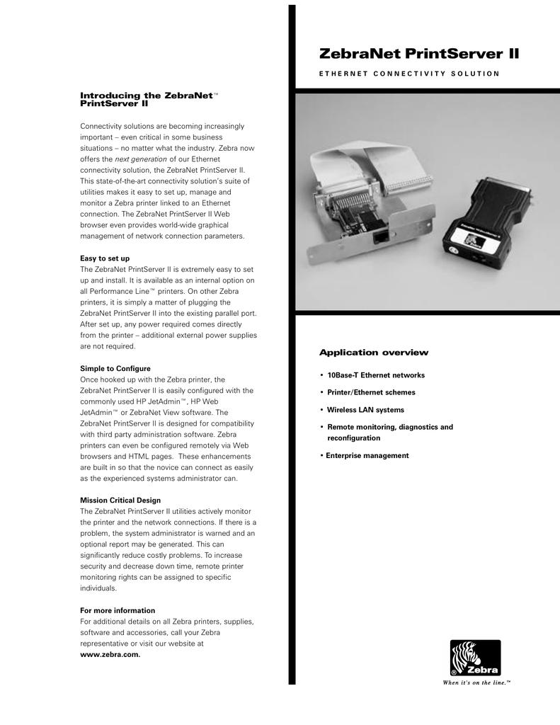 ZebraNet-Printserver | manualzz com
