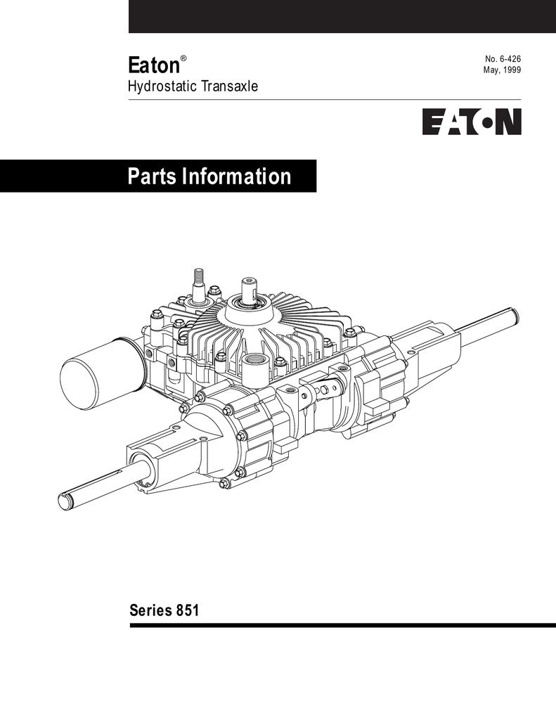 Eaton Parts Information Series 851 Hydrostatic Transaxle   manualzz com