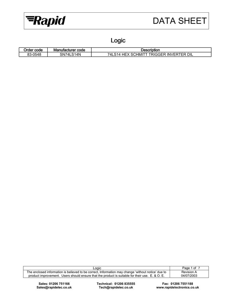 DATA SHEET Logic | manualzz com