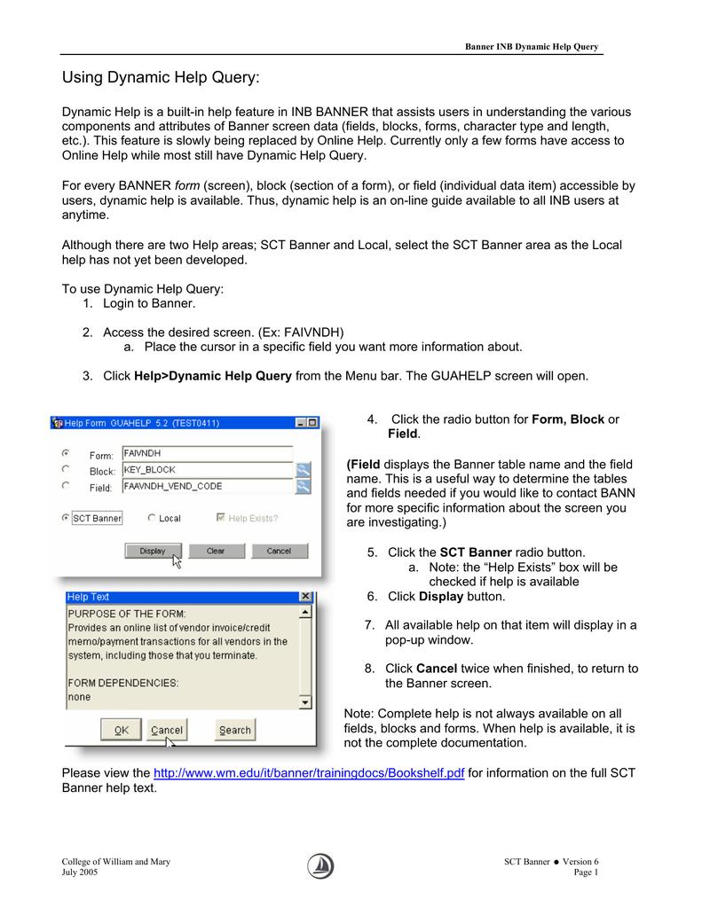 Dynamic Help Query   manualzz com