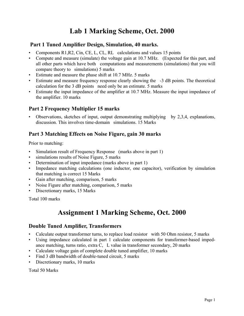 Marking Scheme for Lab 1, Assignment 1 | manualzz com